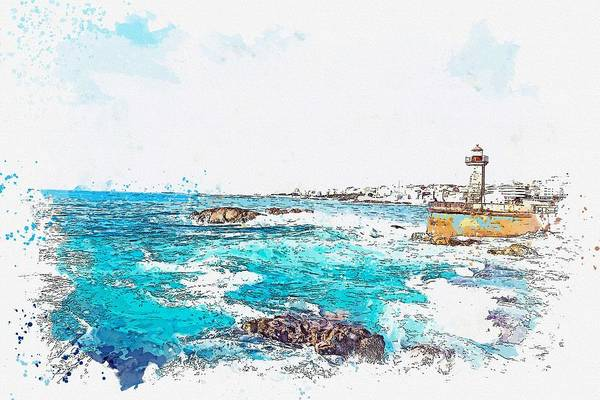 Wall Art - Painting - Lighthouse -  Watercolor By Ahmet Asar by Ahmet Asar