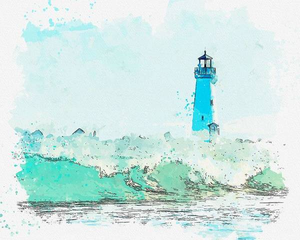 Painting - Lighthouse, Watercolor, C2019, By Adam Asar - 1 by Adam Asar