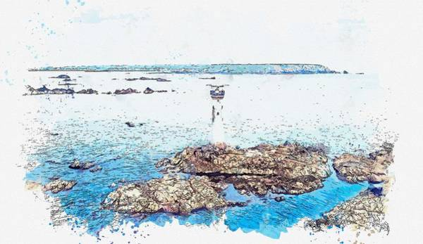 Painting - Lighthouse, Watercolor, C2019, By Adam Asar - 11 by Adam Asar