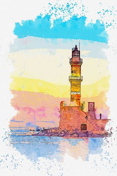 Painting - Lighthouse, Watercolor, C2019, By Adam Asar - 12 by Adam Asar