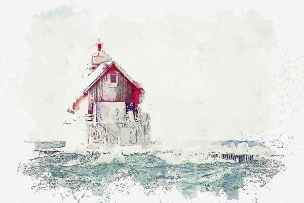 Painting - Lighthouse, Watercolor, C2019, By Adam Asar - 18 by Adam Asar