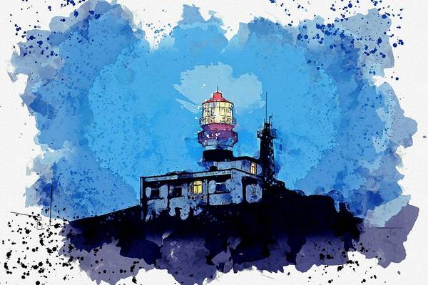 Painting - Lighthouse, Watercolor, C2019, By Adam Asar - 19 by Adam Asar