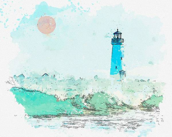 Painting - Lighthouse, Watercolor, C2019, By Adam Asar - 2 by Adam Asar