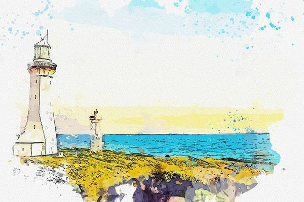 Painting - Lighthouse, Watercolor, C2019, By Adam Asar - 3 by Adam Asar