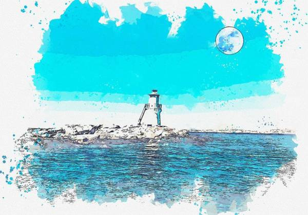 Painting - Lighthouse, Watercolor, C2019, By Adam Asar - 4 by Adam Asar