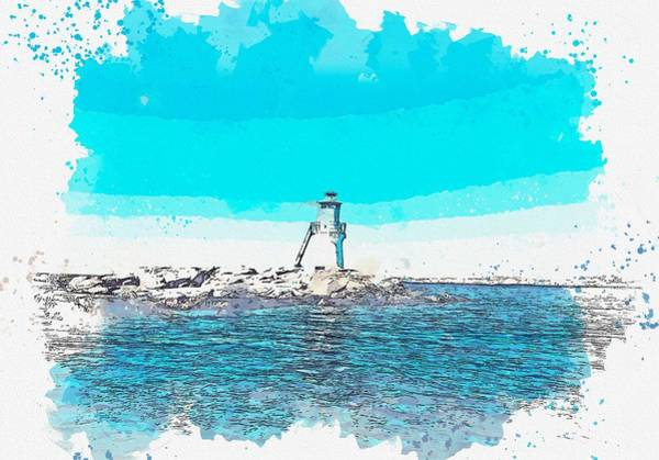 Painting - Lighthouse, Watercolor, C2019, By Adam Asar - 5 by Adam Asar