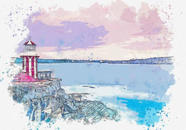 Painting - Lighthouse, Watercolor, C2019, By Adam Asar - 7 by Adam Asar