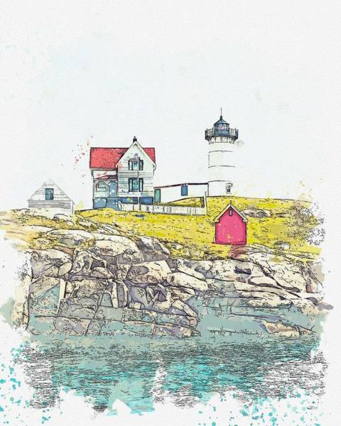 Painting - Lighthouse, Watercolor, C2019, By Adam Asar - 8 by Adam Asar
