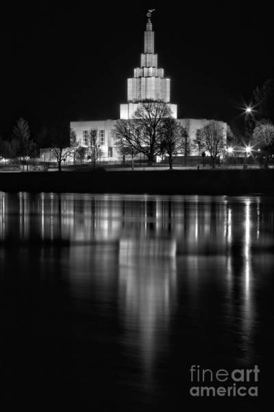 Photograph - Lighting Up Idaho Falls Black And White by Adam Jewell