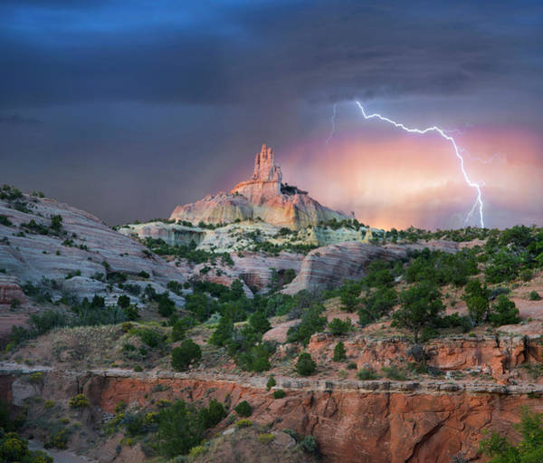 Photograph - Lightning At Church Rock, Red Rock by