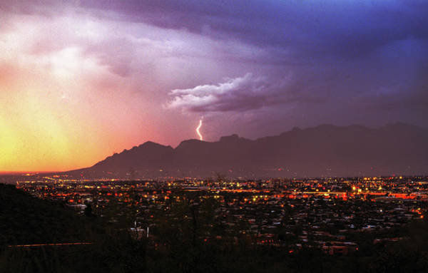 Photograph - Lightning Bolt Over The Santa Catalina Mountains And Tucson, Arizona by Chance Kafka
