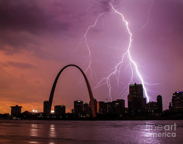 Photograph - Lightning Over The Gateway Arch by Garry McMichael