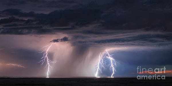 Photograph - Lightning And Downpouring Storm Passing Over The Great Salt Lake by Spencer Baugh