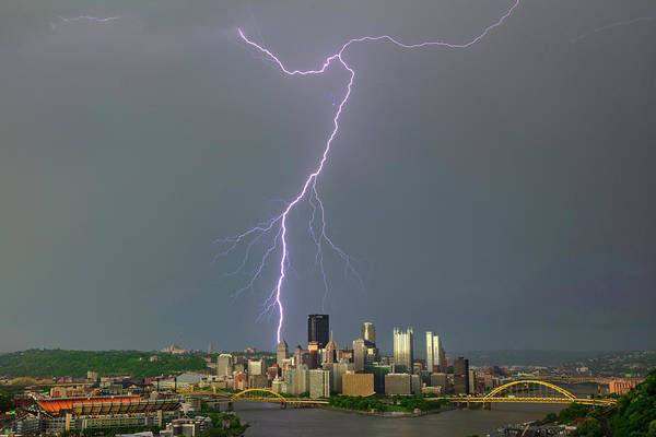 Photograph - lightning storm in Pittsburgh by Emmanuel Panagiotakis