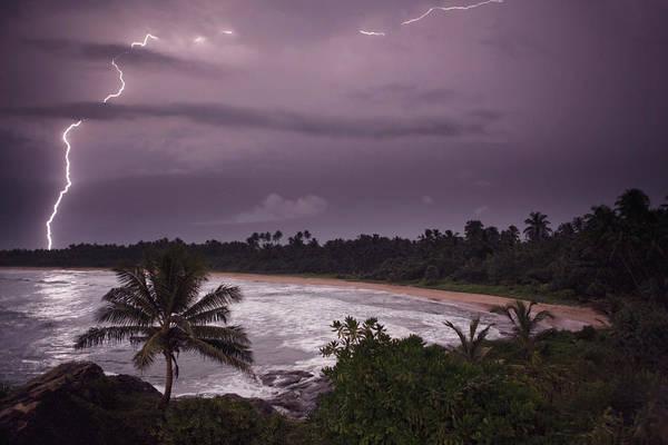 Storm Photograph - Lightning Storm On Beach by Matthew  Wakem