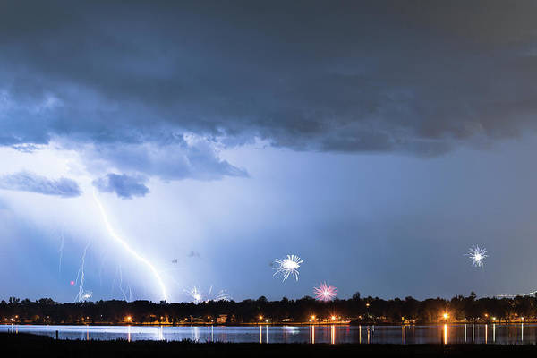 Photograph - Lightning Strike And Fireworks by James BO Insogna