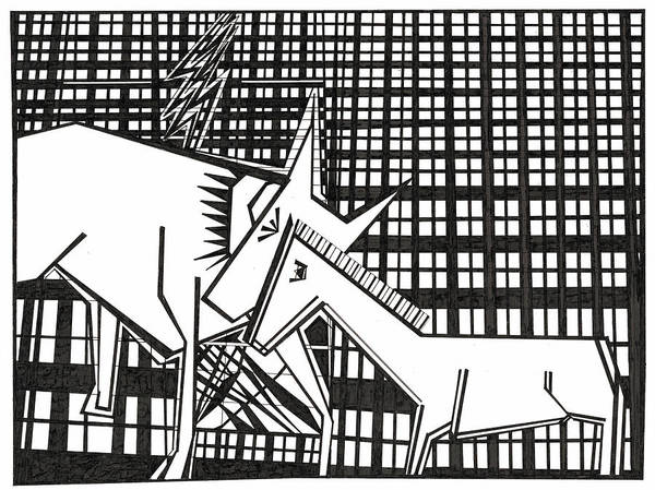 Drawing - Lightning Strikes An Animal by Artist Dot