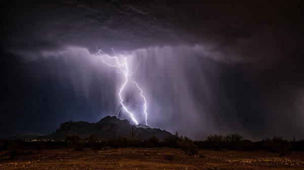 Wall Art - Photograph - Lightning Strikes The Superstitions  by Saija Lehtonen