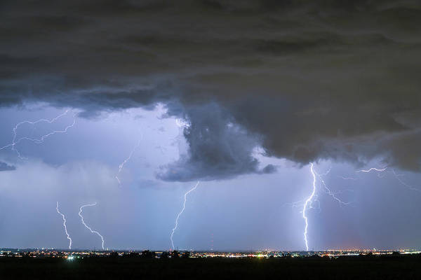 Photograph - Lightning Striking Firestone Colorado 3 by James BO Insogna