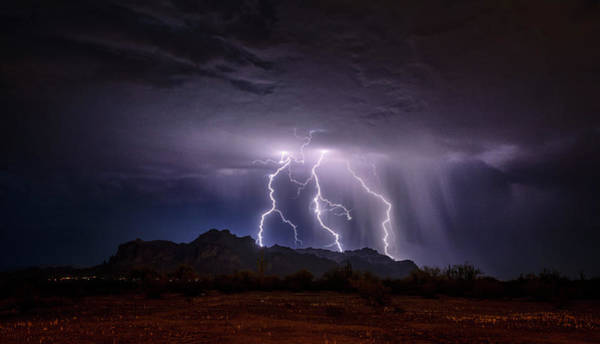 Wall Art - Photograph - Lightning Up The Skies Over The Superstitions  by Saija Lehtonen