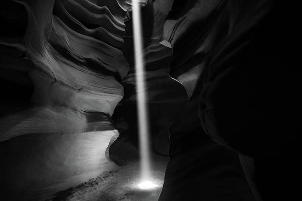 Photograph - Lights And Shadows Of Antelope Canyon - Black And White by Gregory Ballos