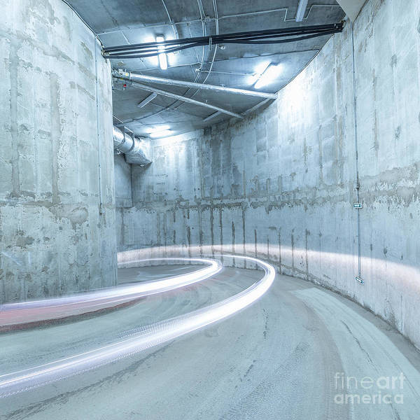 Cement Wall Art - Photograph - Lights Of The Moving Car In The by Serjio74