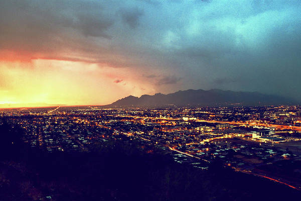 Photograph - Lights Of Tucson, Arizona During Monsoon Sunset Rains by Chance Kafka