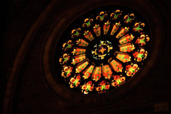 Photograph - Like A Jewel From The Darkness - Glorious Stained Glass Window by Georgia Mizuleva