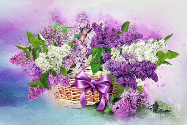 Mixed Media - Lilac  In A Basket by Morag Bates