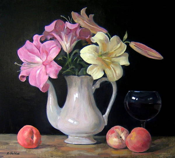Made In Japan Wall Art - Painting - Lilies And Peaches by Robert Holden