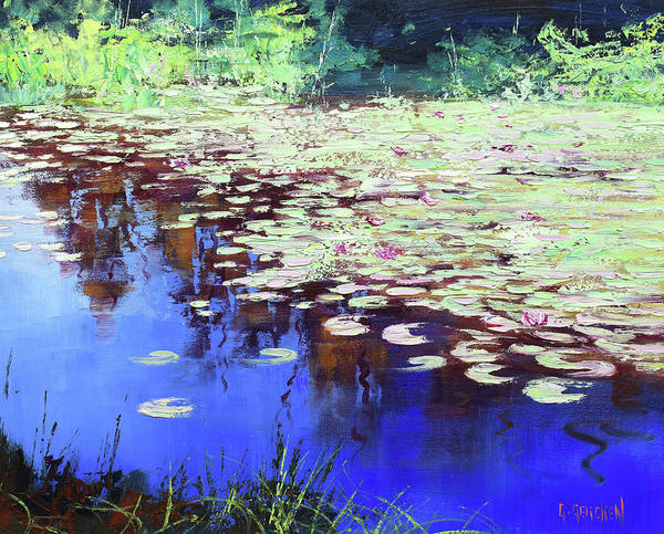 Wall Art - Painting - Lilies On Blue Water by Graham Gercken