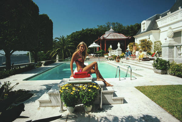 Swimming Pool Photograph - Lillian Crawford by Slim Aarons