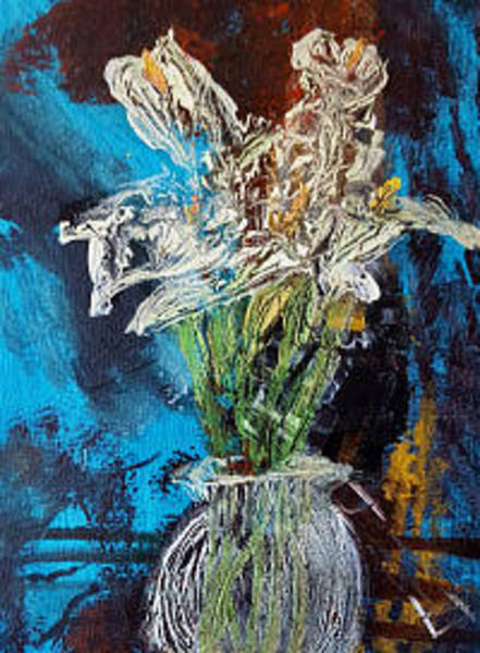 Mixed Media - Lily In A Vase Of Light by Siobhan Dempsey