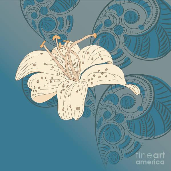 Wall Art - Digital Art - Lily On Floral Background by Alex.makarova