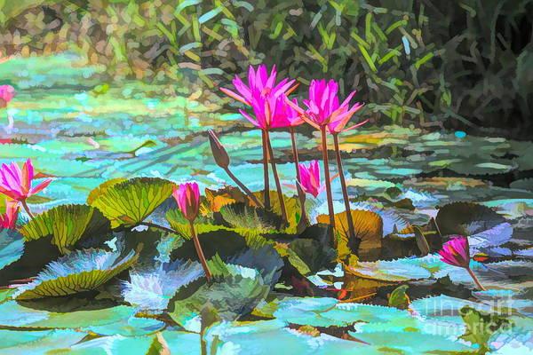 Wall Art - Digital Art - Lily Pods Vietnam Art  by Chuck Kuhn