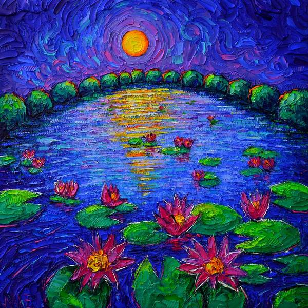 Wall Art - Painting - Lily Pond Mystic Night Abstract Roundscape Moon Art Impasto Knife Oil Painting By Ana Maria Edulescu by Ana Maria Edulescu
