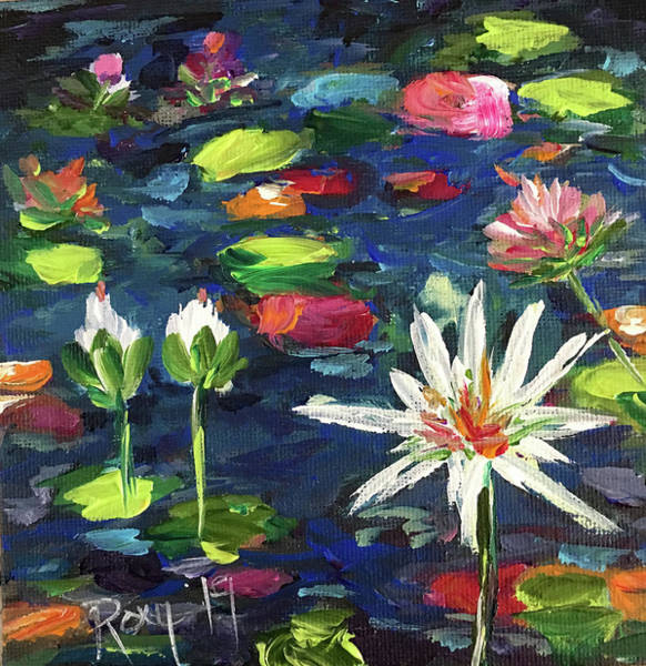 Contemporary Painting - Lily Pond by Roxy Rich