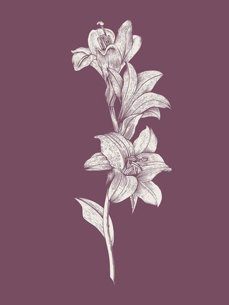 Bouquet Mixed Media - Lily Purple Flower by Naxart Studio
