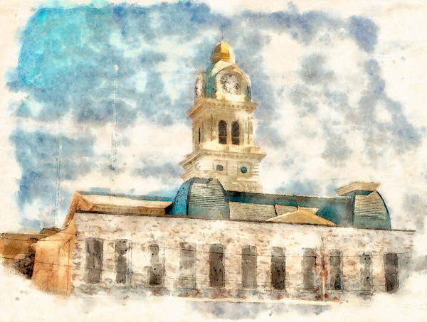 Painting - Lima Ohio Courthouse Watercolor by Dan Sproul