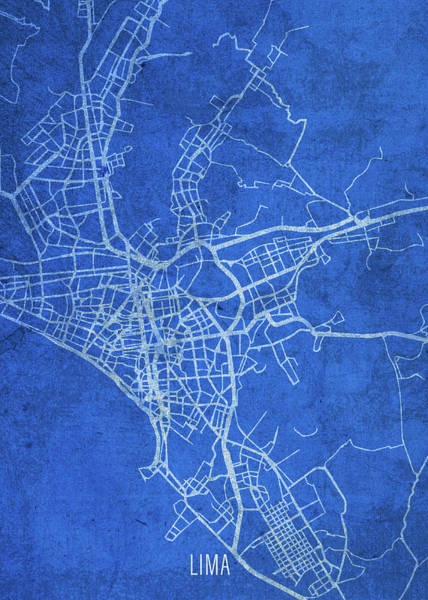 Peru Map Mixed Media - Lima Peru City Street Map Blueprints by Design Turnpike