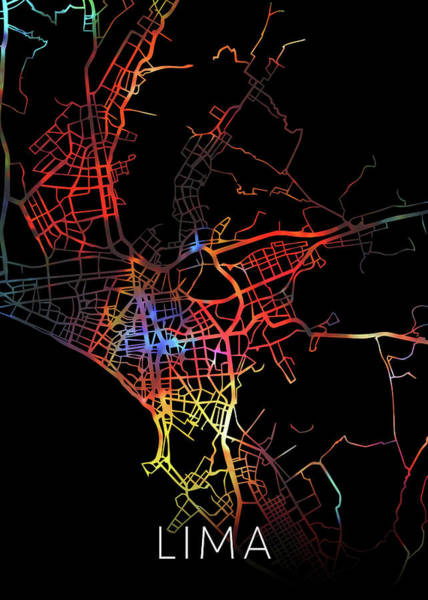 South America Mixed Media - Lima Peru Watercolor City Street Map Dark Mode by Design Turnpike