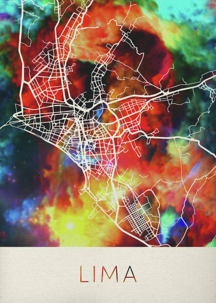 South America Mixed Media - Lima Peru Watercolor City Street Map by Design Turnpike