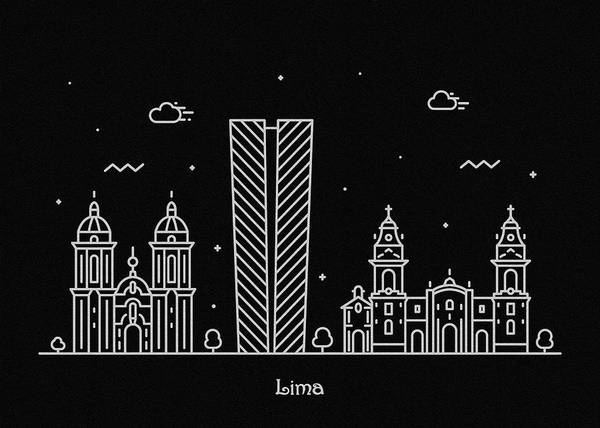 Monument Drawing - Lima Skyline Travel Poster by Inspirowl Design