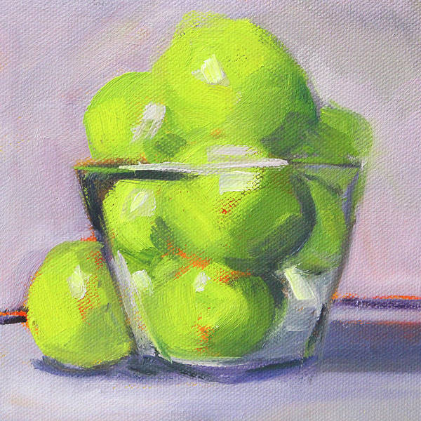 Wall Art - Painting - Lime And Lavender by Nancy Merkle