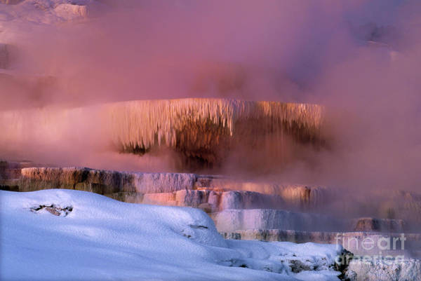 Photograph - Limestone Artwork Minerva Springs Yellowstone National Park by Dave Welling