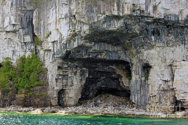 Wall Art - Photograph - Limestone Caves On The Shore Of The Bruce Peninsula Lake Huron by Louise Heusinkveld