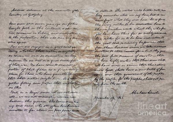 Wall Art - Digital Art - Lincoln And Gettysburg Address by Randy Steele