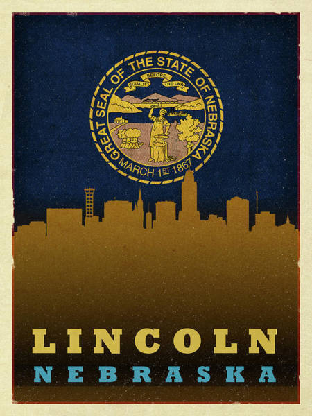 Wall Art - Mixed Media - Lincoln City Skyline State Flag Of Nebraska by Design Turnpike