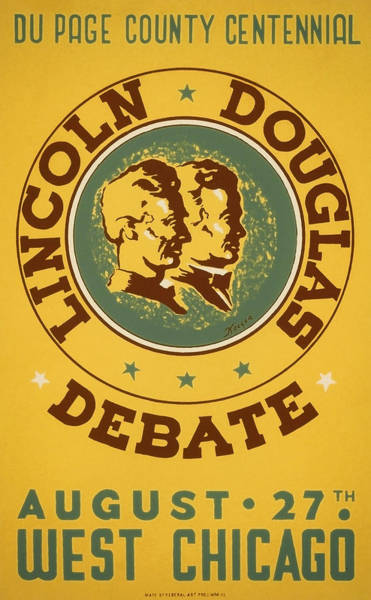 Douglas County Wall Art - Painting - Lincoln Douglas Debate - Wpa - 1939 by War Is Hell Store