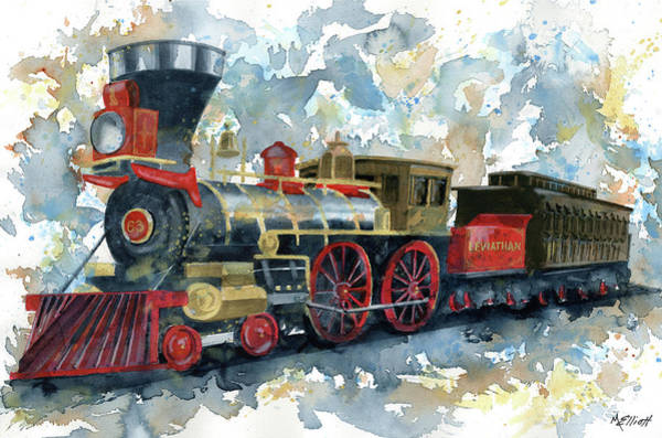 Trains Painting - Lincoln Funeral Train by Marsha Elliott